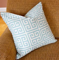 18 x 18 Pillow Cover Greek Key Teal and White by caromccool, $20.00