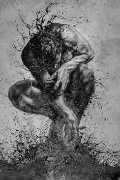 Outstanding Drawings using Finger-Painting Technique by Paolo troilo Male Body Art, Posca Art, Art Of Man, Sad Art, Human Art, Art For Art Sake, Art Graphique, Dark Fantasy Art, Figure Painting