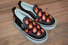 605d3e4205 Vans Toddler Slip On Shoes Size 6 Fireballs Fire Black Vans Toddler