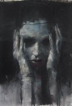 """Artist Guy Denning """"Sky's still blue"""" conte, pastel and chalk on paper 30 x 40 cm 3rd July 2013"""
