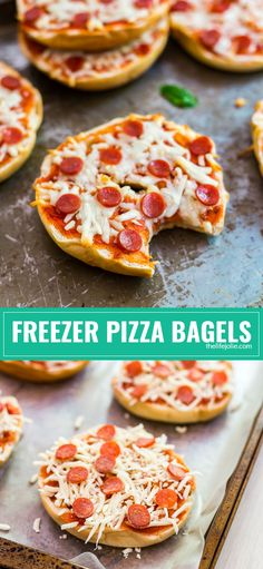 How to make homemade Freezer Pizza Bagels: This recipe is so easy and is a great lunch or snack for kids. These can be frozen and then cooked in the microwave or oven for a quick pick me up!
