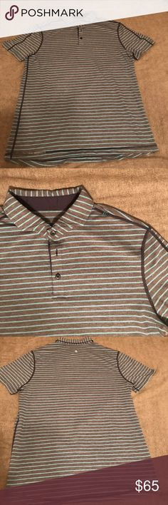 Lululemon Polo Short Striped Large. Grey with light blue stripes. Perfect for golf/casual wear. Like new condition. lululemon athletica Shirts Polos