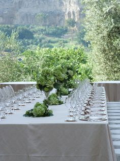 Italy wedding -  Imperial table with olive trees in background