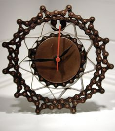 Recycled bike chain round clock fair trade