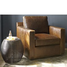 Davis Leather Swivel Chair - Camel | Crate and Barrel