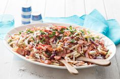 Coleslaw with a bacon twist. Easy and lasts for days, unless you can't resist it of course!