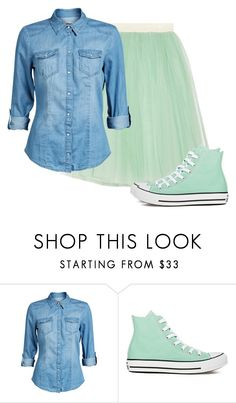 """""""Denim Shirt and Tulle Skirt ~Grace"""" by isongirls ❤ liked on Polyvore featuring D&G, ONLY and Converse"""