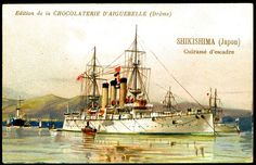 "https://flic.kr/p/8VjyoK | French Tradecard - Japanese Battleship, ""Shikishima"" 