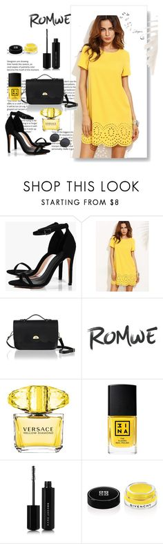 """Yellow dress"" by arijanagetos55 ❤ liked on Polyvore featuring Boohoo, The Cambridge Satchel Company, Whiteley, Versace, 3ina, Marc Jacobs and Givenchy"