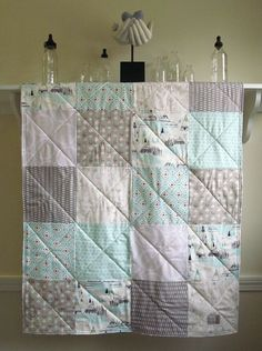 Nature Baby Quilt -  Indian Summer - Ready To Ship - Pastel Aqua, Taupe, Gray, and White - Gender Neutral - Forest Animals