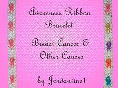 Awareness Ribbon Bracelet - Breast Cancer - Monster Tail or Rainbow Loom - YouTube