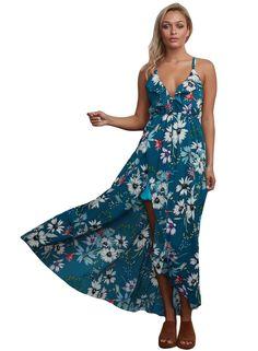 Floral Chiffon Spaghetti Straps Maxi Dress