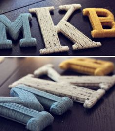 Put a word with some significance on the wall with wooden letters covered in yarn!