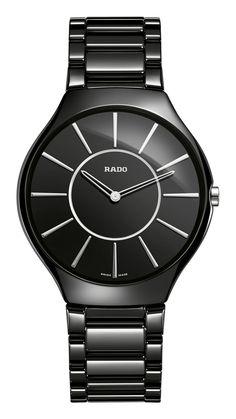 RADO True Thinline, black high-tech ceramic watch. Made in Switzerland. R27741162. Authorized Rado Dealer. Free CDN shipping