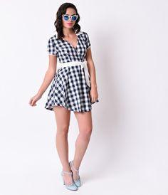 Retro Style Navy & White Gingham Short Sleeve Flared Diner Dress