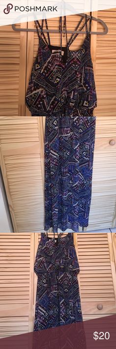 Boho style chiffon maxi dress Never worn size L boho print double straps elastic waist 49 inches in length Isbel Dresses Maxi