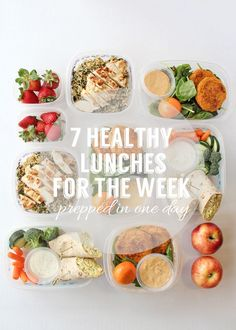 7 Healthy Lunches for the week: #mealprep idea #healthyeats