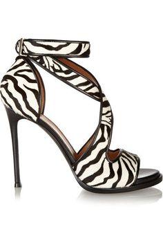 Givenchy - Nilenia Sandals In Zebra-print Calf Hair With Leather Trim - Zebra print - IT37.5