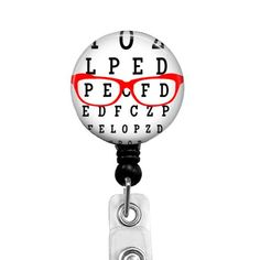 Optometry Badge Reel Eye Chart and Glasses, Retractable Badge Holder for Optometrist, ID Name Badge Clip, Optical Tech Name Tag, Style 568 Badge Reel, Id Badge, Littmann Cardiology, Optometry Office, Stethoscope Id Tag, Eye Chart, Retractable Badge Holder, Name Badges, Optician