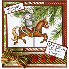 Carousel Ornament by Jennie Lin Black Christmas Holidays, Christmas Cards, Christmas Ornaments, Paper Glue, Card Companies, House Mouse, Copic Markers, Pattern Paper, Card Stock