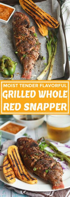 Whole Red Snapper Recipes, Whole Salmon Recipe, Whole Fish Recipes, Grilled Fish Recipes, Grilled Seafood, Salmon Recipes, Seafood Recipes, Seafood Meals, Drink Recipes