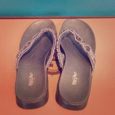 Grey beaded flip flops Very comfy flip flops with beaded straps. Sole has some sand stuck in the grooves Mossimo Shoes Sandals