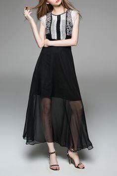Lace Splicing Maxi Dress