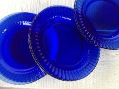 vintage dinner plates, Transparent Blue dinner plates, cobalt blue ...