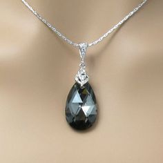Platinum Grey Bridal Necklace Swarovski Crystal Silver Night Necklace Black Necklace Rhodium Plated Chain Bridesmaid Gift Dark Grey Jewelry