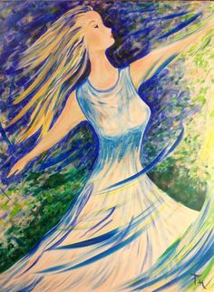 Prophetic Art painting of girl worshiping the Lord dancing with swirls of praise to God, by #PamHerrick, artist at Just For You Prophetic Art