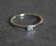 Simple Engagement Ring  Princess Cut Diamond  14k by houseonhudson