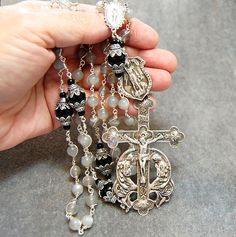 Gray Moonstone Rosary Wire Wrap Marcasite Sterling Silver Saint Michael by HeartFeltRosaries.com...