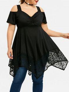 82fa5753aa8e1 Plus Size Empire Waist Cold Shoulder Top - BLACK 3XL One Shoulder Jumpsuit