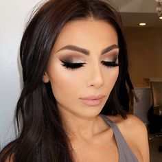 "Vanity makeup on Instagram: ""✨ My signature smokey eye ✨. Foundation: @makeupforeverofficial HD #127 Concealer: @maccosmetics Cheeks: @toofaced cocoa contour palette @anastasiabeverlyhills so Hollywood highlighter Lips: #anastasiabeverlyhills pure Hollywood with clear gloss Lashes: #hudabeauty Alyssa and Giselle"""