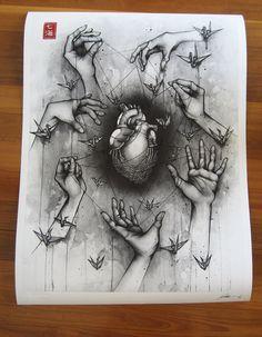 Delicate Balance - Detailed Ink Drawings by Nanami Cowdroy Dark Art Drawings, Pencil Art Drawings, Art Drawings Sketches, Deep Art, Arte Obscura, Medical Art, Sad Art, Anatomy Art, Art Inspo