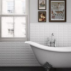 Love a beveled subway tile.Toronto Bathroom Subway Tile Design, Pictures, Remodel, Decor and Ideas Beveled Subway Tile, White Subway Tiles, Subway Tile Kitchen, Bathroom Renos, Bathroom Wall, Small Bathroom, Bathrooms, Bad Inspiration, Kitchens