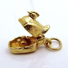 Vintage 14K Gold 3D Movable Hen and Chicks *NO COVER CHARGE* Charm from charmalier on Ruby Lane