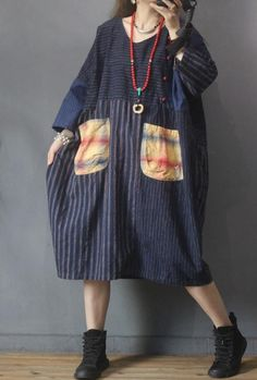 Blue striped dress, Dresses for women, oversized robe, linen Large Size dress, linen midi dress Warm Dresses, Linen Dresses, Dresses With Sleeves, Black Dress Coat, Green Wool Coat, Minimalist Dresses, Large Size Dresses, Retro Dress, Summer Dresses For Women
