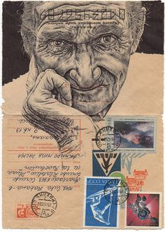 Bic Biro drawing on 1972 Russian envelope. by mark powell