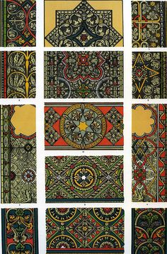 Stained glass design examples from Owen Jones 'The Grammar of Ornament' published in 1856.