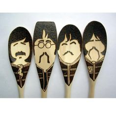 Pepper Moustache Spoons - Wooden - Set of 4 Beatles Sgt. Pepper Moustache Spoons - Wooden - Set of 4 Beatles A new twist on my set of moustac… Wood Burning Crafts, Wood Burning Patterns, Wood Burning Art, Spoon Art, Wood Spoon, Beatles Gifts, The Beatles, Wooden Spoon Crafts, Wood Crafts