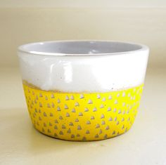Ceramic Yellow Carved Polka Dot Bowl by lovebugkiko.