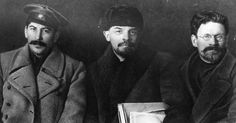 Russian revolutionaries and leaders Joseph Stalin, Vladimir Ilyich Lenin, and Mikhail Ivanovich Kalinin at the Congress of the Russian Communist Party. (March 23, 1919)