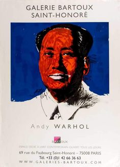 WARHOL, Andy. Galerie Bartoux, Saint-Honore, Andy Warhol, Chairman Ma… – Sotherans Andy Warhol, Exhibition Poster, Paris, Rue, Vintage Posters, Saints, Movie Posters, Movies, Fictional Characters