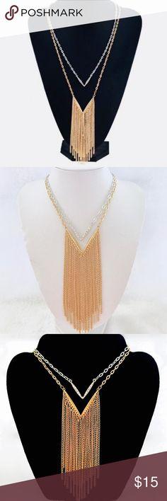 "Gold & Silver Layered V Fringe Necklace Gold & Silver Layered V Fringe Necklace - hangs approx 17"" Jewelry Necklaces"