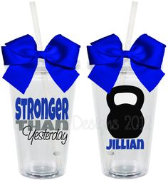 CrossFit Stronger Than Yesterday Kettlebell 16oz Personalized Acrylic Tumbler. $15.00, via Etsy.