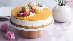 Kevään ja kesän juhlien kestosuosikki mango-juustokakku sopii kaikkiin kevään juhliin. Koristeluilla voit varioida kakun teemaan sopivaksi. Nutella, Cheesecake, Deserts, Mango, Foods, Cooking, Sweet, Recipes, Drinks