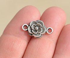 6 Tibetan Silver  Flower Connector Charms