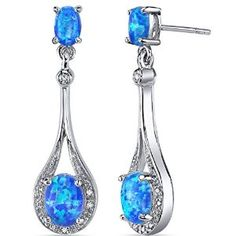 Created Blue-Green Opal Earrings Sterling Silver Oval Shape 3.50 Carats available at jofulcrown.com