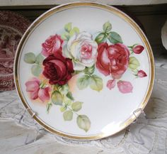 Antique Porcelain PLATE LUSH ROSES Chic by WhiteSwanAntiques